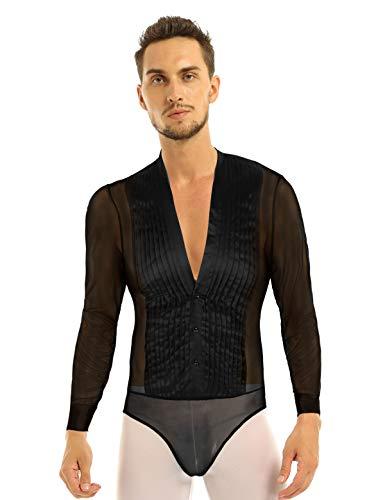 Freebily Chemise Homme Haut Body de Fitness Latine Collant Justaucorps Danse Tango Transparent Sexy Pyjama Maillot de Corps M-XXL Noir X-Large