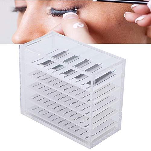 Contenant acrylique à faux cils, boîte de rangement pour greffe de porte-palette de cils, boîte de rangement, outil d'extension de boîte transparente pour cils - 5 couches, 4,7 x 3,8 x 2,4 pouces