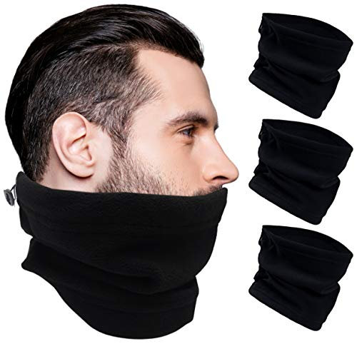 all of the best neck gaiters to buy for 2021 Thermal Neck Gaiters, 3 Pack Warm Winter Scarf Tube, Soft Fleece, Adjustable Strap Bulk