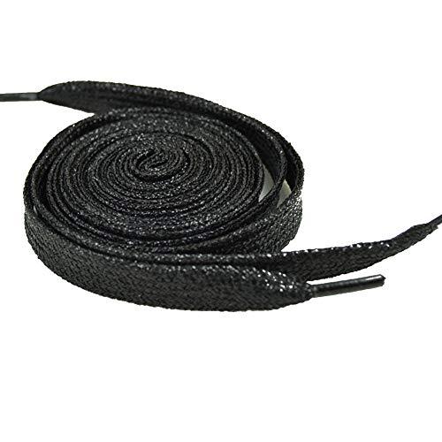 Collectsound Elastische Schnürsenkel, Metall-Glitzer, flache Schnürsenkel, helle Farben, für Stiefel, Schuhe, Dekoration, 60 - 180 cm, 1 Paar schwarz Schwarz  140cm