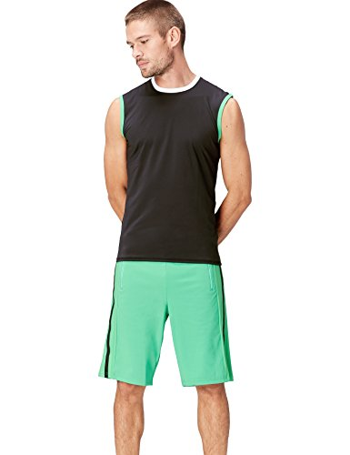 FIND Camiseta Técnica sin Mangas para Hombre, Negro (Black/White/Apple Green), Large