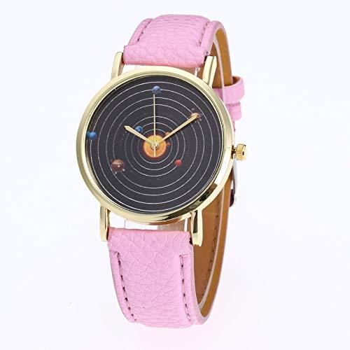 Powzz ornament Smartwatches Sistema Solar Planet Cuarzo Reloj Casual Chicos Y Chicas Amantes Amante del Cinturón Reloj @Pink