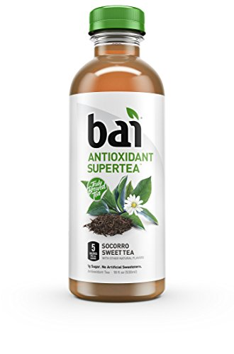 Bai Iced Tea, Socorro Sweet, Antioxidant Infused Supertea, Crafted with Real Tea (Black Tea, White Tea), 18 Fluid Ounce Bottles, 12 Count