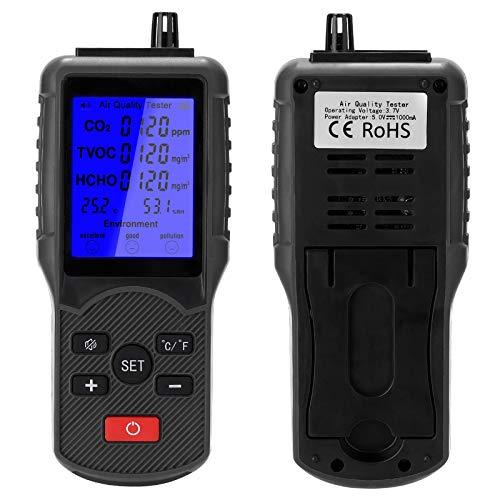 Monitor de calidad del aire Analizador, Medidor de CO2, Multifuncional Medidor de TVOC, Dispositivo de medición de temperatura y humedad, Detector de Formaldehído Interior, Probador