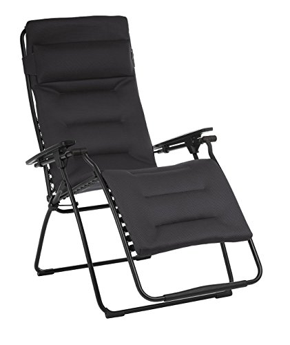 Lafuma Futura XL Air Comfort Zero Gravity Recliner (Acier Black) Extra Large Padded Folding Outdoor Reclining Chair