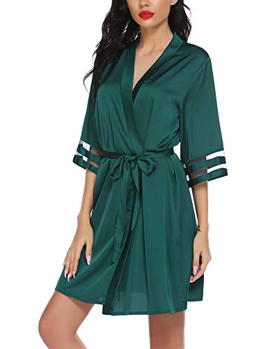 Balancora Robe Damen Seide Morgenmantel Kurz 3/4 Ärmel Kimono Sexy Bademantel V-Ausschnitt Saunamantel Robe Negligee Sommer