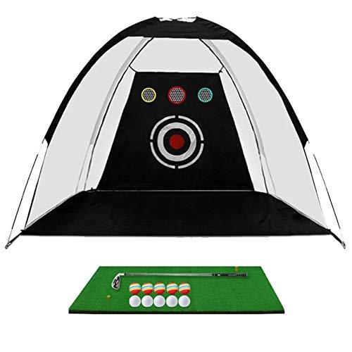 Feixunfan Red de Golf 1 * Golf Hitting Pretty Cage 1 * Slight Mat 1 * Golf Club 10 * PRÁCTICA Bolas DE PRÁCTICA 1 * Práctica Target Net para Interior al Aire Libre (Color : Black, Size : One Size)