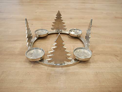 CB Home & Style Adventskranz Kerzenhalter Aluminium Silber Metall Durchmesser 35 cm Weihnachten (Tannenbaum)