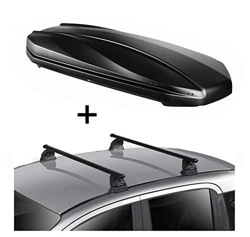 DACHBOX Strike 440 Liter schwarz matt + Dachträger VDP EVO Stahl kompatibel mit Mercedes CLA Shooting Brake (X117) 5 Türer 2015-2019