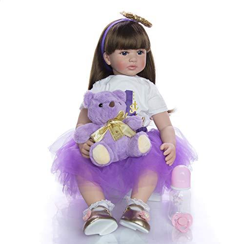 Realistico 60 cm 24 Pollici Fatto a Mano Bambolina Reborn Silicone Morbido Vinile Realistico Neonata Bello Capelli Lunghi Bambino Doll Regalo