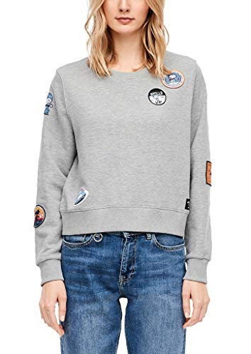 s.Oliver RED LABEL Damen Sweatshirt mit Peanuts-Motiv grey melange placed patches M