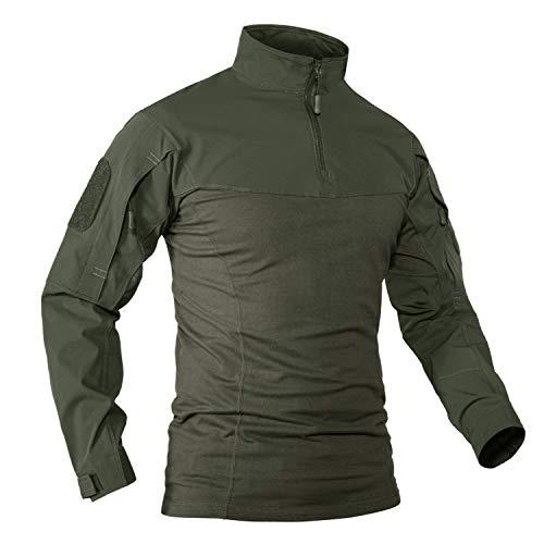 KEFITEVD Taktische Shirt Herren US Army Uniform Bundeswehr Shirt Outdoor Camping Tshirt Männer Arbeitsshirt Stehkragen Langarmshirt Dunkeloliv S