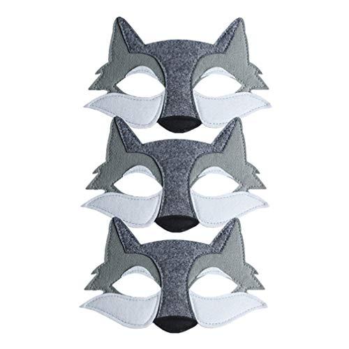 STOBOK 3 Piezas de Máscara de Lobo de Fieltro de Media Cara de Zorro Anime Animal Salvaje Cosplay Accesorio para Niños Disfraces de Disfraces Párr Fiesta Gris