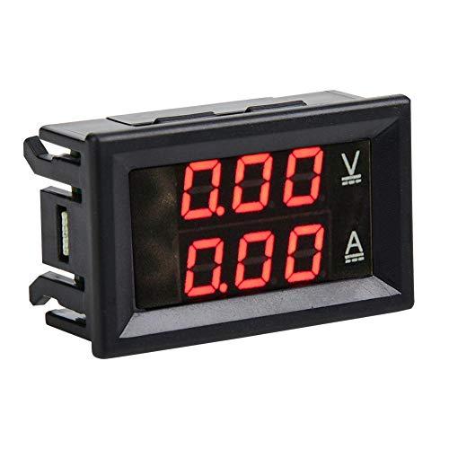 3-stelliger DC 0-100 V 50A / 100A Voltmeter Amperemeter Messgerät, Dual LED Digitalspannungs Stromzähler(Rot & Rot-10A)