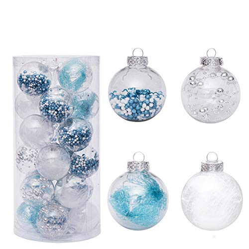 Zinsale 20pcs 6cm/2.36' Adornos para árboles de Bolas de Navidad de Navidad de plástico inastillables Decoraciones para árboles Adornos Colgantes Decoración para Festivales (Azul)