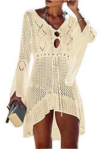ZIYYOOHY Elegant Crochet Stricken Bikini Cover Up Boho Strandponcho Strandkleid (One Size, zBeige)