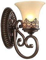 壁取り付け用燭台ランプガラス壁洗浄ランプ、E27金属壁ランプブロンズスポットライト寝室リビングルームカフェ[レストラン]屋内2ライト、