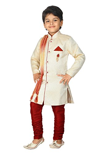 Ahhaaaa Kids Ethnic Wear Sherwani Dupatta and Breeches Set Special Traditional Collection for Boys