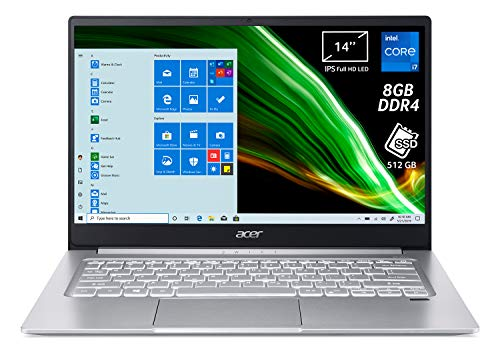 Acer Swift 3 SF314-59-79ZH Pc Portatile, Notebook con Processore Intel Core i7-1165G7, RAM 8 GB DDR4, 512 GB PCIe NVMe SSD, Display 14' FHD IPS LED LCD, Intel Iris Xe, Windows 10 Professional, Silver
