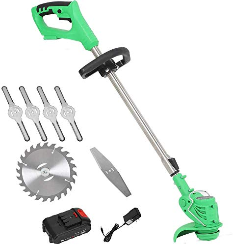 BHURGT Electric Grass Trimmer, 21V 3000Mah Edger Lawn Mower Lithium-Ion Cordless Grass Brush Cutter Kit Pruning Cutter Garden Tools