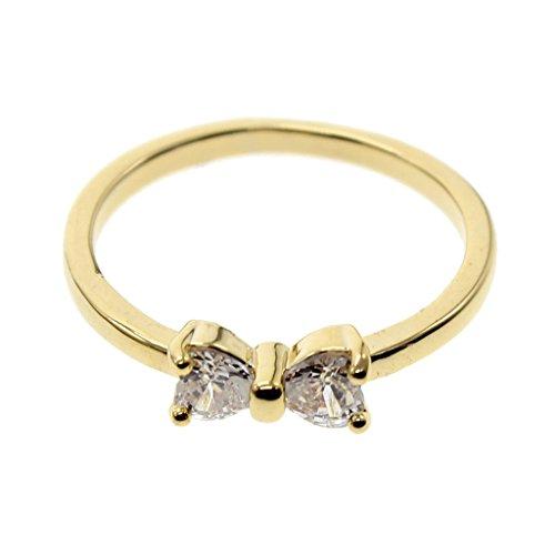 HuntGold 1 x Schmuck Vergoldet Finger Bogen-Ring Kristall Verlobungsring (Ring-Größe US 8)