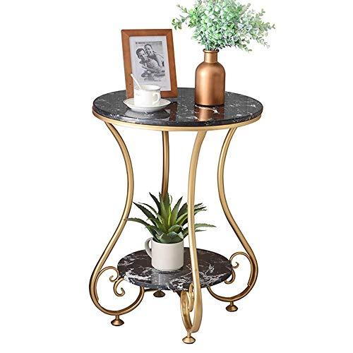GAOLIM Petite Table Ronde en marbre à 2 Niveaux, Table d'appoint de Salon, Table d'angle, Table Basse en Fer doré, 50x63cm (Couleur: Noir)