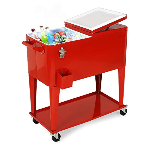 YUSING Patio Rolling Cooler Ice Chest Cart with Bottom Shelf, Portable Beach Patio Party Bar Cold Drink Beverage Chest, 80 Quart, Red