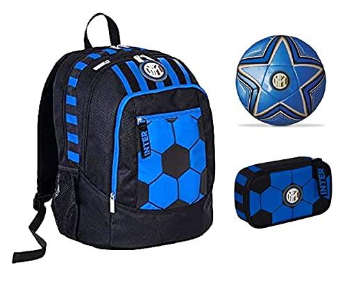 Mochila escolar del F.C. Inter de color negro y azul, redonda, nueva colección Seven + estuche con cremallera Quick Case + balón y llavero de fútbol
