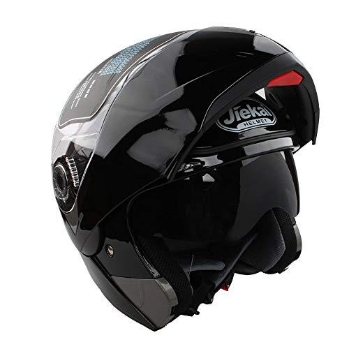 Casco de Moto Doble Visera, Casco de Cara Abierta Motocicleta para Motocicleta Bicicleta Scooter Cascos de Moto Modulares Mujer y Hombre,Negro Brillante XL