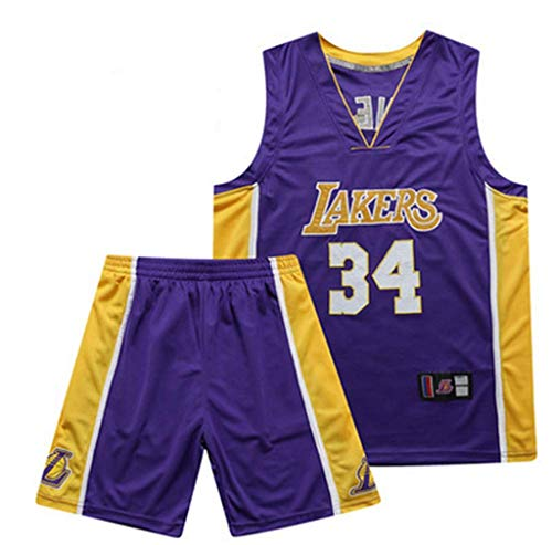 FMSports Jerseys De Baloncesto Retro para Hombre NBA Magic # 34 Shaquille Oneal Uniforme De Baloncesto Tela Transpirable Fresca Camiseta Cl/ásica De Chaleco,L~175cm//65~75kg
