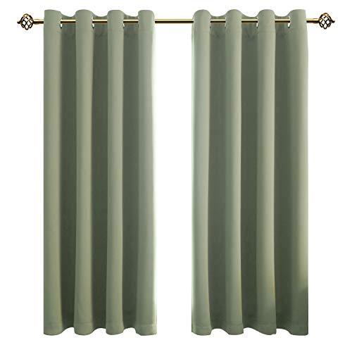 FLOWEROOM Blickdichte Gardinen Verdunkelungsvorhang - Lichtundurchlässige Vorhang mit Ösen für Schlafzimmer Geräuschreduzierung Nilgrün 175x140cm(HxB), 2er Set