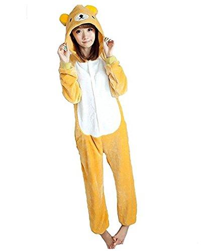 Pijamas Disfraces Onesie Animal Adultos kigurumi Carnaval Halloween o Fiesta Espectáculo Navideño Mono Cosplay Ropa Interior de Zoológico Invierno Unisex Mujeres y Hombres - S - Orsetto