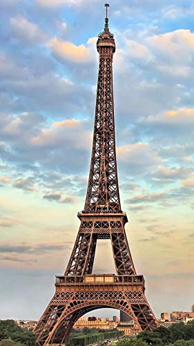 100/300/500/1000 piece Jigsaw Puzzle Game Adults Kids Toy, Eiffel Tower under blue sky and white clouds brain teaser,problem solving
