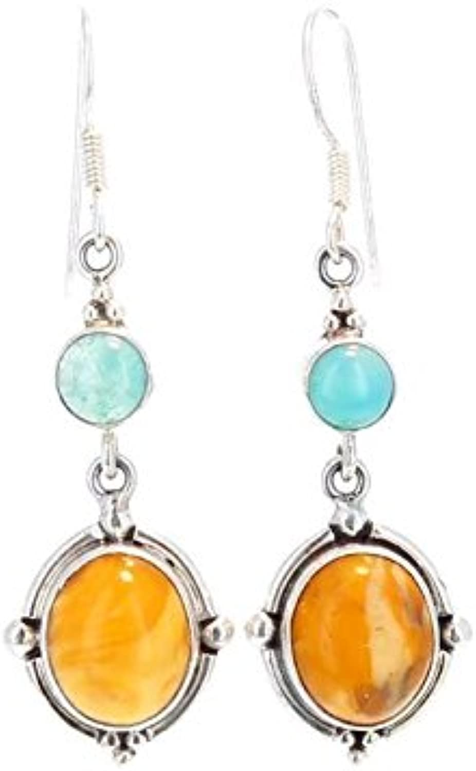 grandes ahorros AMBER and GEM SILICA EARRINGS EARRINGS EARRINGS STERLING  ventas directas de fábrica