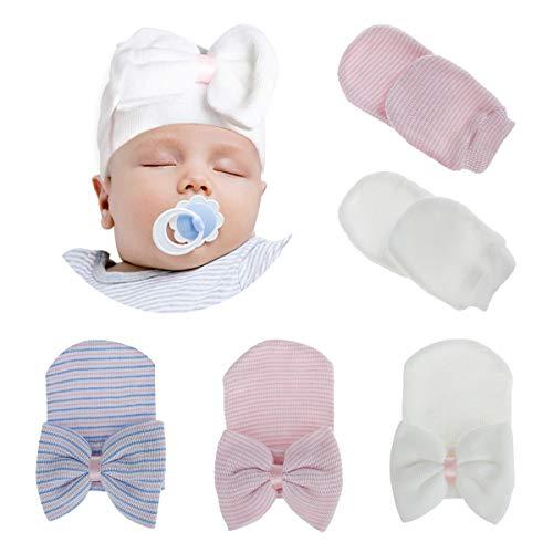 Dsaren 5 Piezas Gorro Bebe Nudo Hospital Conjunto Gorro y Manoplas Recien Nacido Punto Hat Baby para Chico Chica Baby Shower (5 Piezas)