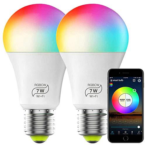 GuDoQi Smart Lampen, WLAN Glühbirne Dimmbar, E27 Wifi LED RGBW Birne 7W 500Lm, Intelligente Mehrfarbige Lampe 2700-6500K, Kompatibel mit Alexa und Google Home, Kein Hub Benötigt (2 Stück)