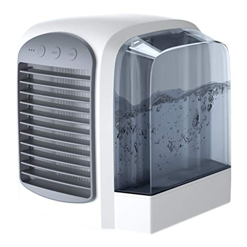 Mobile Ventilator Klimaanlage Persönlicher Mini Klimageräte USB Tragbar Luftkühler Ventilator Luftbefeuchter und Luftreiniger LED Beleuchtung Luftkühler 3 Arten Windgeschwindigkeit Modus (Grau)