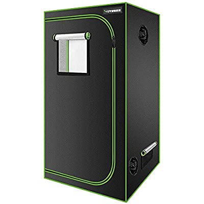 """VIVOSUN 32""""x32""""x63"""" Mylar Hydroponic Grow Tent with Observation Window and Floor Tray for Indoor Plant Growing"""