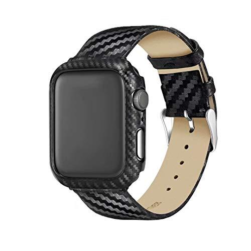 NSK Banda di Ricambio per Orologio LLP Cinturino in Vera Pelle + Cinturino in Fibra di Carbonio for Apple Watch Series 3 & 2 & 1 42mm