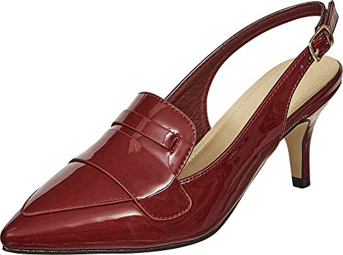 Cambridge Select Damen Slingback spitz zulaufender Zehenloafer Mid Kitten Heel Pumps, Rot (Red Patent Pu), 38 EU