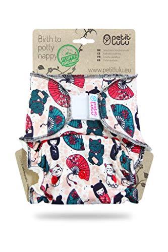 Petit Lulu Maxi NachtWindel | Höschenwindel (7-16 kg) Klett | Fluffy Organic | Bambus natürliche wiederverwendbare Stoffwindeln | Ohne Polyester (Japanische Puppen)