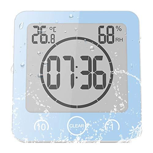 Sunsbell Reloj de baño digital, resistente al agua, para ducha, baño, con temperatura y humedad, pantalla LCD, control táctil inteligente, reloj de pared, temporizador de cocina (azul)