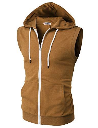 H2H Mens Casual Slim Fit Zip-up Hoodie Vest Lightweight Sleeveless Hooded Caramel US 3XL/Asia 4XL (CMOHOSL08)