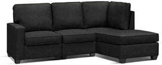 Sofa Lounge Set 4 Seater Modular Chaise Chair Couch Fabric Dark Grey
