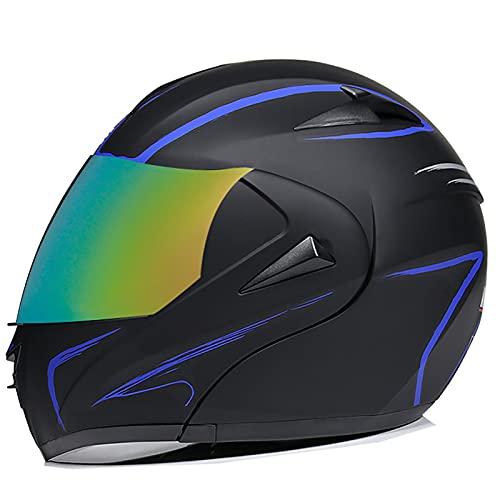 NBSMN Casco De Motocicleta, ECE/Dot Aprobado, Visa Doble Flip Motocicleta Casco De Cara Completo, Adulto Masculino Y Femenino Cruiser Scooter Jet Casco Completo. C-M