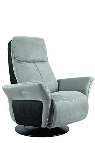 City Salon Variance Fauteuil Pivotant Relax Manuel Fixé, Microfibre, Souris/Noir, 89x169x112 cm