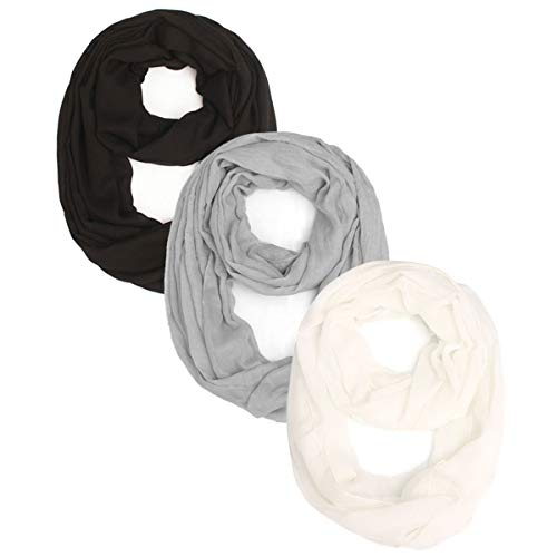 3 Packs Lightweight Plain Infinity Scarf or Oblong Scarf For Women Scarf Shawl Wrap,Black, White, Grey, One Size