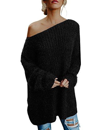 Minetom Femme Oversize Pull Tops Sans Bretelles Manches Longues Casual Pull Robe Long Souple Chaud Sweater Tricotés Tops Noir FR 44