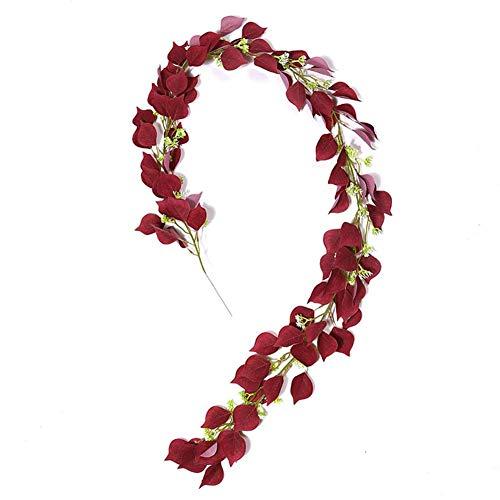 WUDI - Guirnalda artificial de eucalipto (2 m), diseño de rosas