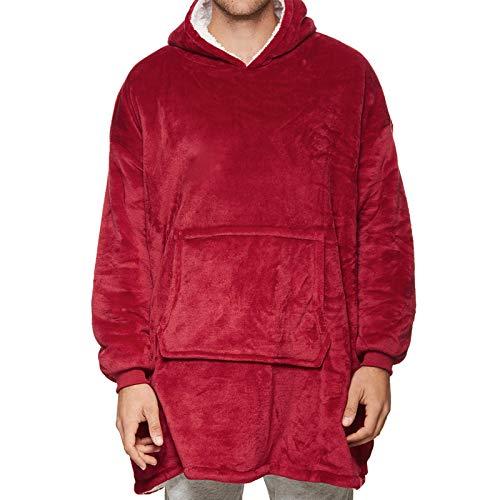 Suéter adulto de doble cara de seguridad, sudadera con capucha con capucha, suéter de gran bolsillo de cordero grande